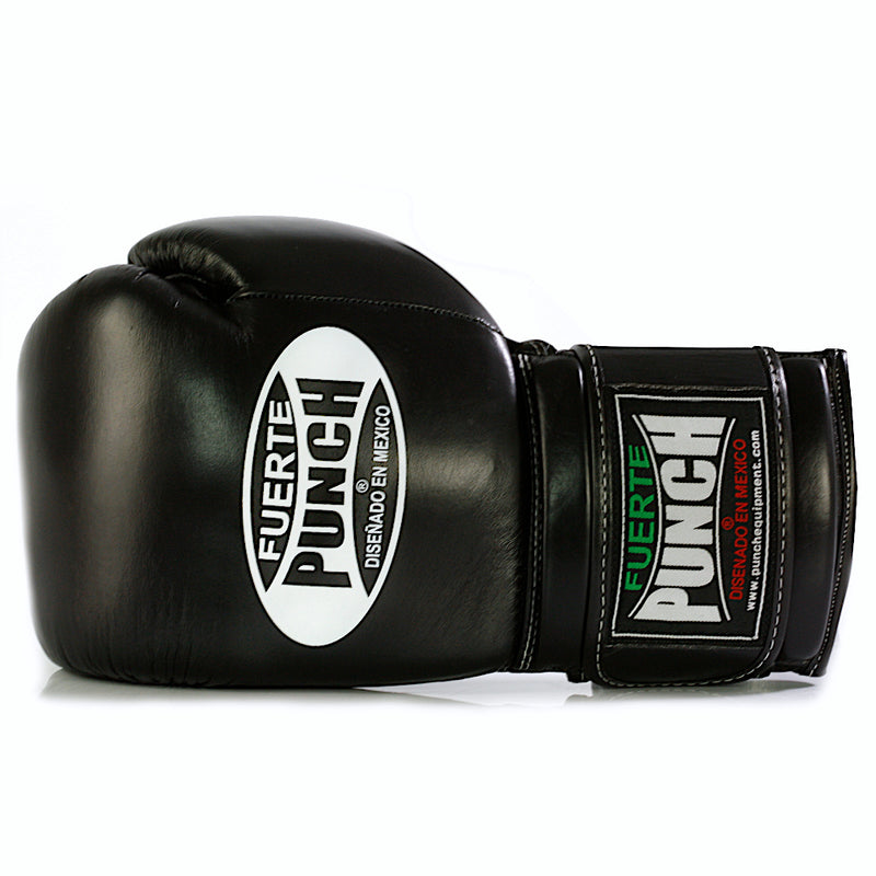 Black Punch Mexican Fuerte Elite Boxing Gloves Size Angle