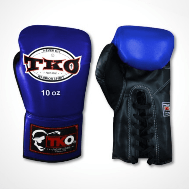TKO Boxing Gloves 6oz / Blue/Black TKO Microfiber Leather Boxing Gloves (Lace Up)