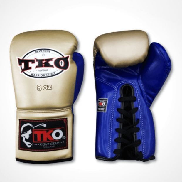 TKO Boxing Gloves 6oz / Gold/Blue TKO Microfiber Leather Boxing Gloves (Lace Up)