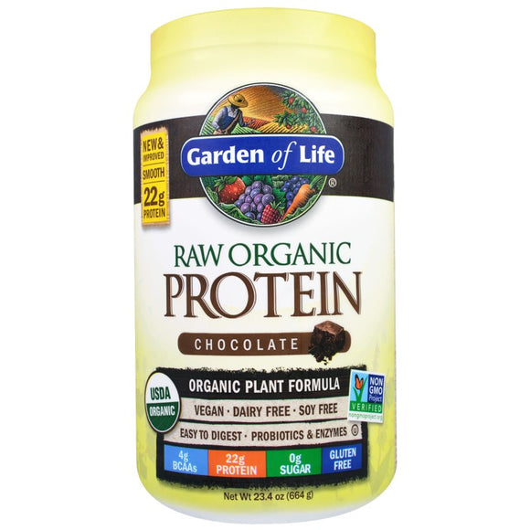 Garden of Life - Raw Organic Plant Protein Formula - 664g - 4 Vegan Flavours to Choose