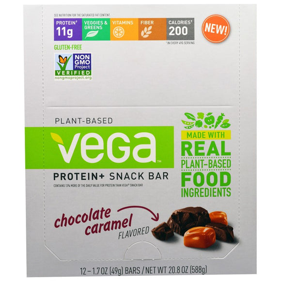 Vega - Protein+ Snack Bar - 2 Flavours to Choose - 12 Bars - 49 g / 1.7 oz Each