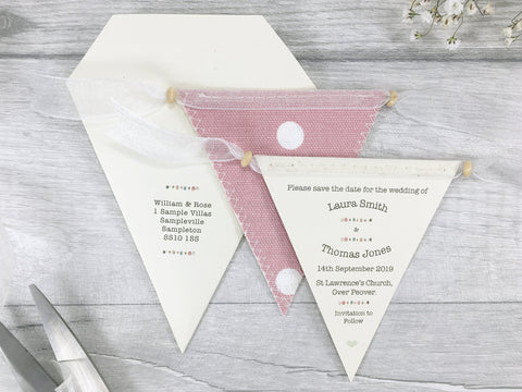 Buttons Mini Bunting Save the Date,  - Postman's Knock Stationery