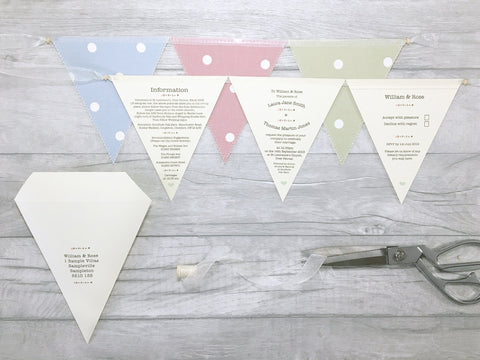 Buttons Deluxe Triple Bunting Wedding Invitation, Wedding Invitation - Postman's Knock Stationery