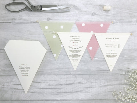 Buttons Double Bunting Wedding Invitation, Wedding Invitation - Postman's Knock Stationery