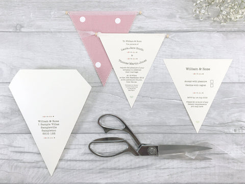 Buttons Single Bunting Wedding Invitation, Wedding Invitation - Postman's Knock Stationery