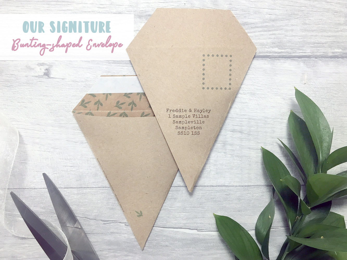Natural Rustic Mini Bunting Save the Date,  - Postman's Knock Stationery