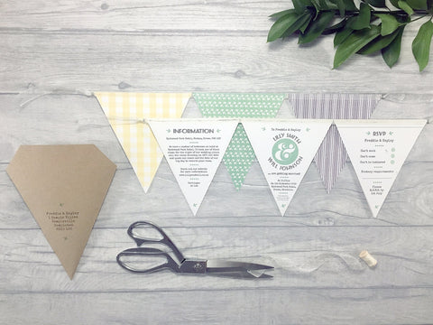 Minimal Rustic Deluxe Bunting Wedding Invitation, Wedding Invitation - Postman's Knock Stationery