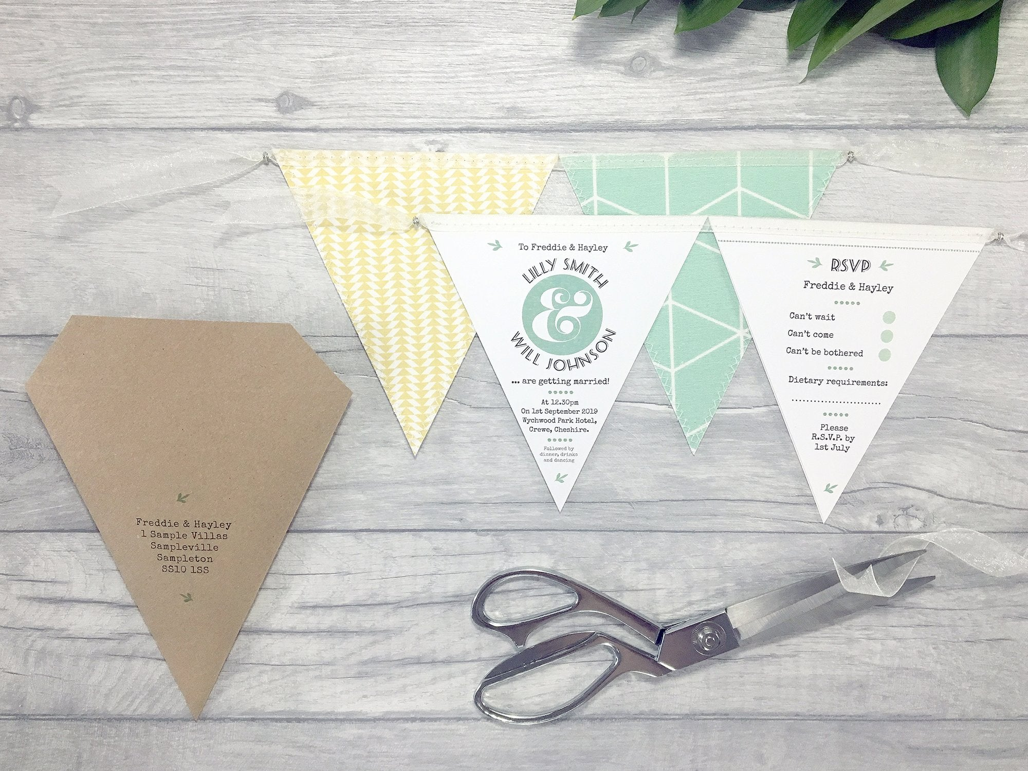 Beautiful Handmade Bunting Wedding Invitation – Postman\'s Knock ...