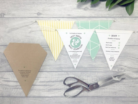 Natural Rustic Double Flag Bunting Invitation, Wedding Invitation - Postman's Knock Stationery