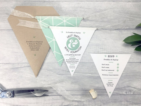 Natural Rustic Single Flag Bunting Invitation, Wedding Invitation - Postman's Knock Stationery