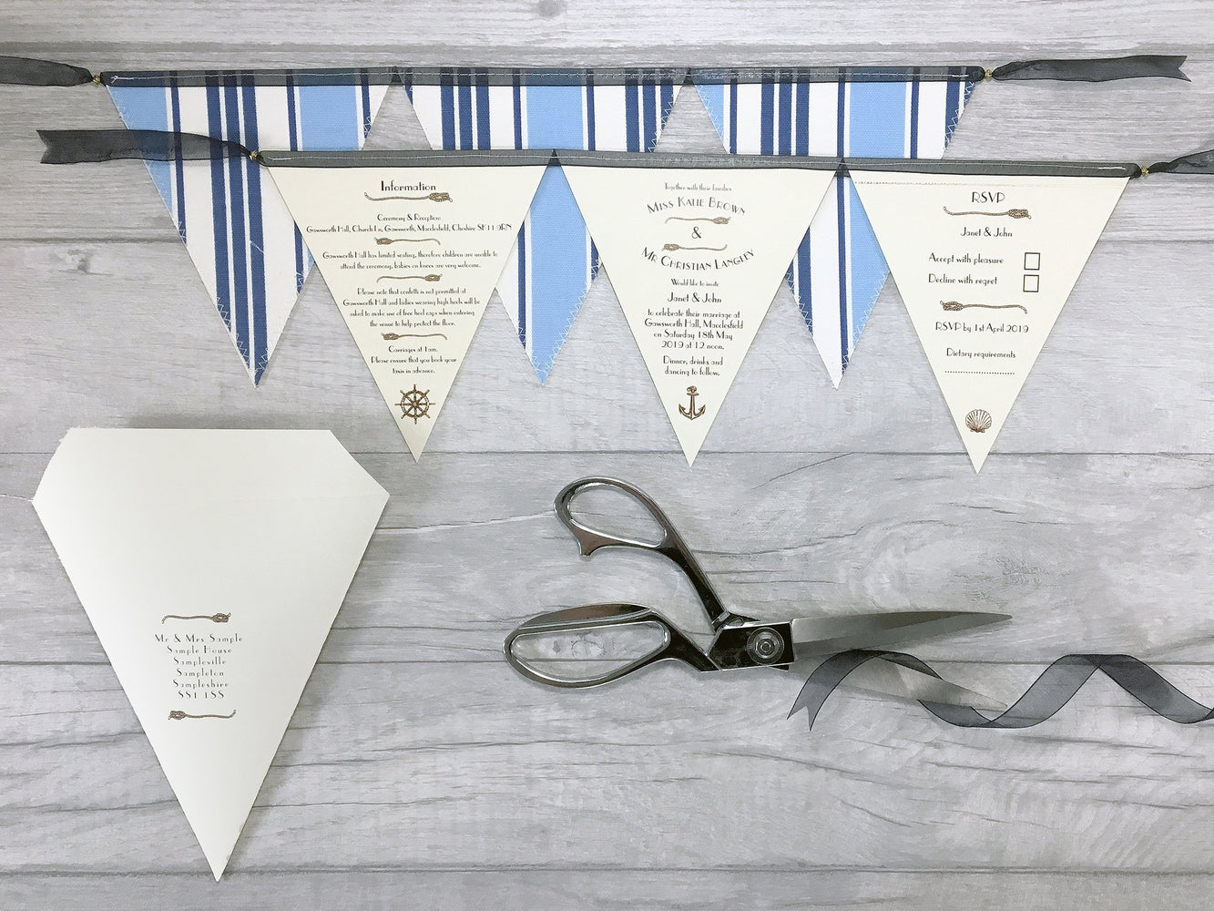 Nautical Deluxe Triple Bunting Invitation, Wedding Invitation - Postman's Knock Stationery
