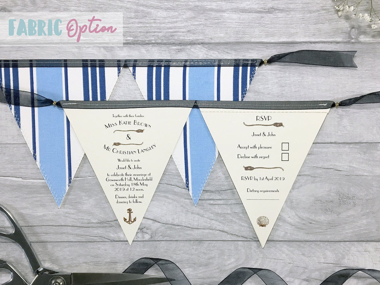 Nautical Double Flag Bunting Invitation, Wedding Invitation - Postman's Knock Stationery
