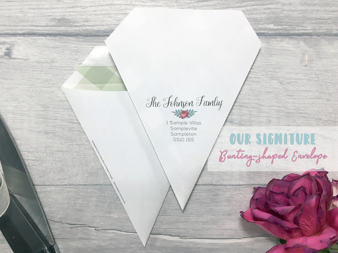 Rosebud Mini Bunting Save the Date,  - Postman's Knock Stationery