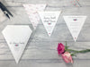 Rosebud Single Flag Bunting Invitation, Wedding Invitation - Postman's Knock Stationery