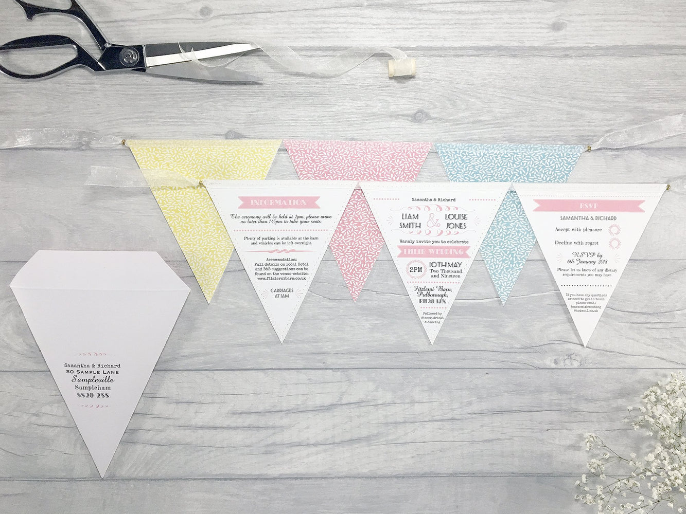 Whimsical Fonts Deluxe Triple Bunting Wedding Invitation, Wedding Invitation - Postman's Knock Stationery
