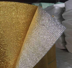 3mm Foil EPE Foam Insulation Underlay Double Sided Grid Golden-Silver Colour SQM Price is £2.75 - Decoridea.co.uk