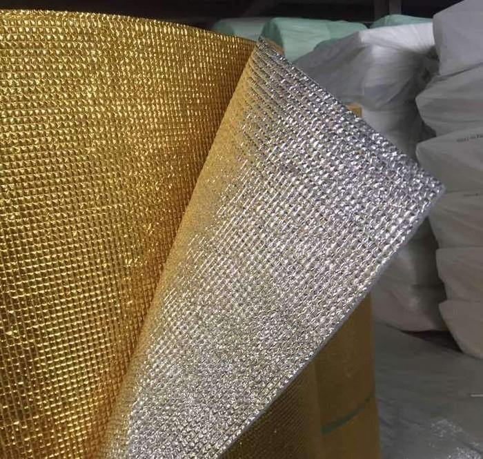 3mm Foil EPE Foam Insulation Underlay Double Sided Grid Golden-Silver Colour Square Metre Price is £2.75 - Decoridea.co.uk