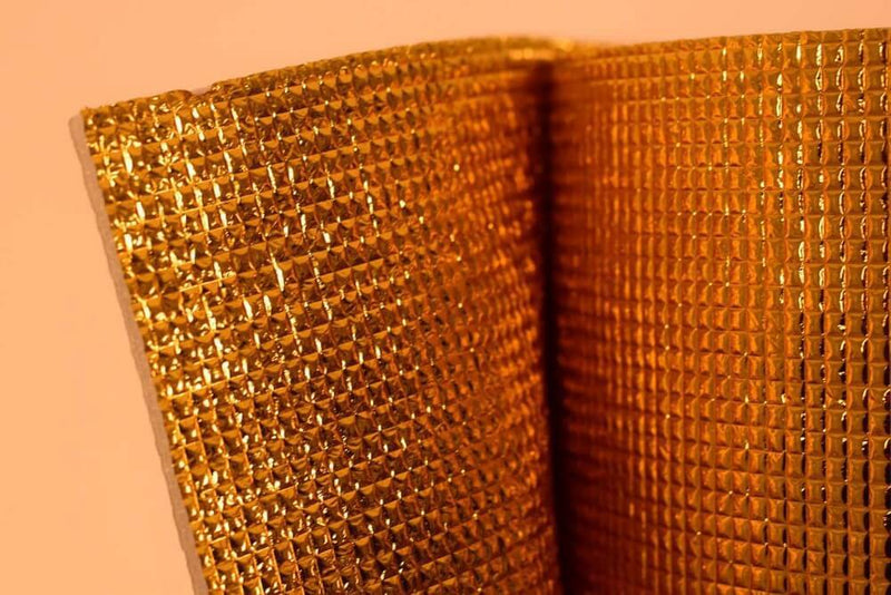 3mm Foil EPE Foam Insulation Underlay Double Side Grid Golden Colour Square Metre Price is £3.20 - Decoridea.co.uk