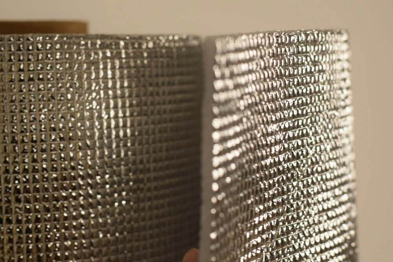 3mm Foil EPE Foam Insulation Underlay Double Side Grid Silver Colour Square Metre Price is £2.75 - Decoridea.co.uk