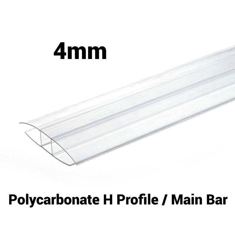 4mm Polycarbonate H Profile Clear Various Size 10 Year Warranty