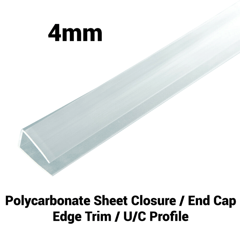 4mm Polycarbonate U Profile Clear Various Size 10 Year Warranty