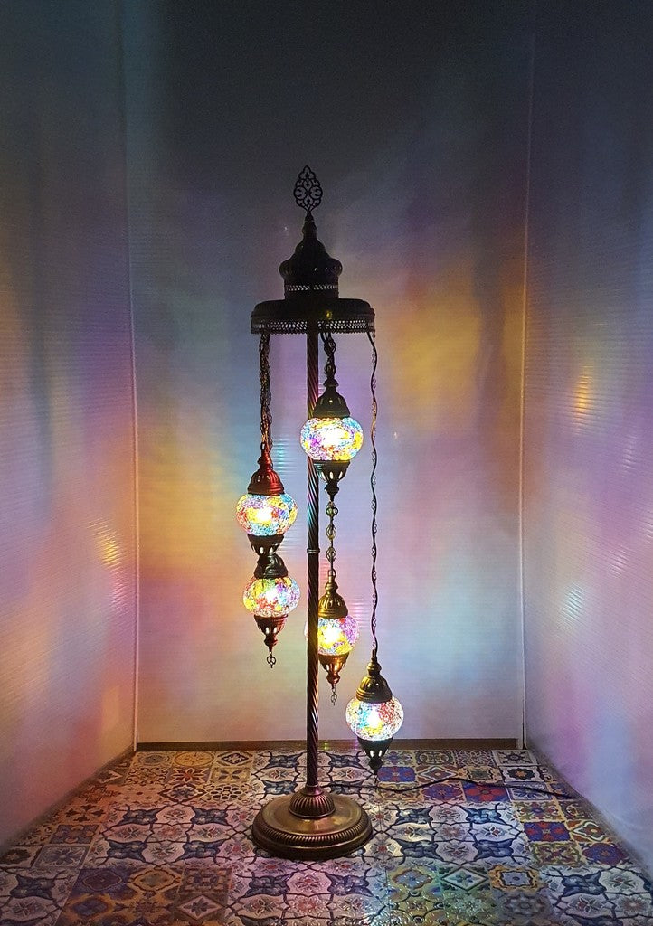 5 Globe Mix Coloured Turkish Tiffany Mosaic Floor Lamp LED Light From £100 - Decoridea.co.uk