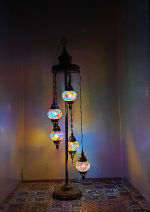 5 Globe Mix Coloured 02 Turkish Tiffany Mosaic Floor Lamp LED Light From £100 - Decoridea.co.uk