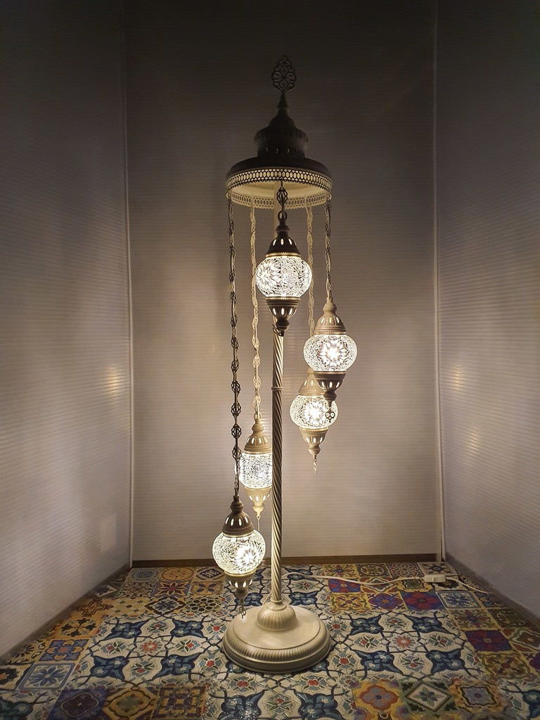 5 Globe White Flower Pattern Turkish Tiffany Mosaic Floor Lamp LED Light From £100 - Decoridea.co.uk