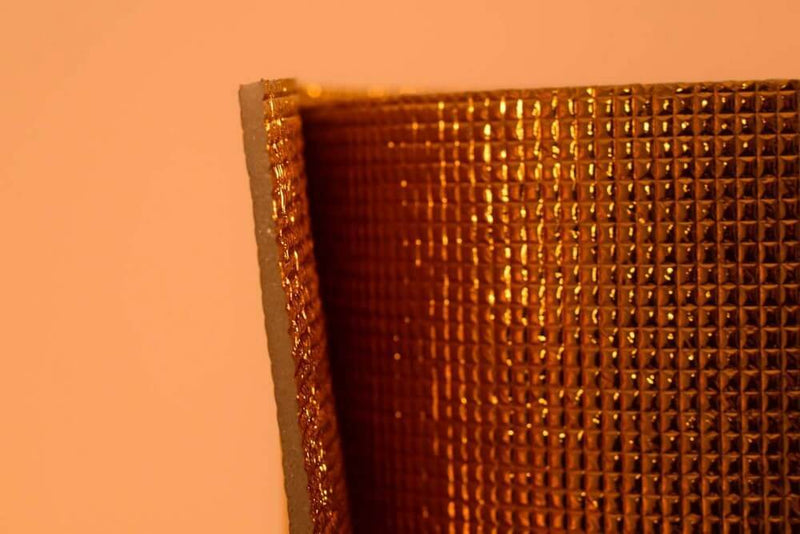 5mm Foil EPE Foam Insulation Underlay Double Side Grid Golden Colour Square Metre Price is £3.75 - Decoridea.co.uk