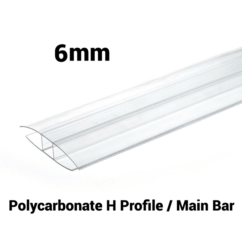 6mm Polycarbonate H Profile Clear Various Size 10 Year Warranty