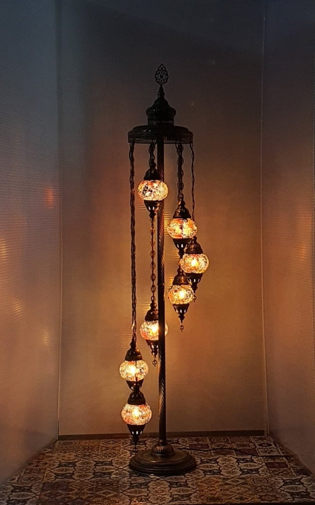 7 Globe Amber Turkish Tiffany Mosaic Floor Lamp LED Light From £150 - Decoridea.co.uk
