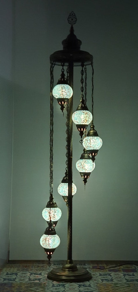 7 Globe Turquoise Flower Pattern Turkish Tiffany Mosaic Floor Lamp LED Light From £150 - Decoridea.co.uk