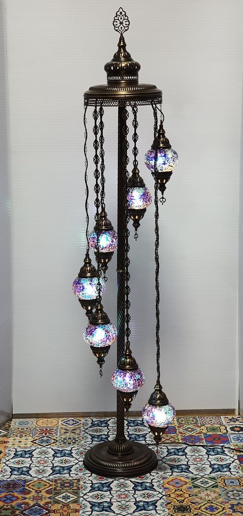 7 Globe Dark Blue Turkish Tiffany Mosaic Floor Lamp LED Light From £150 - Decoridea.co.uk