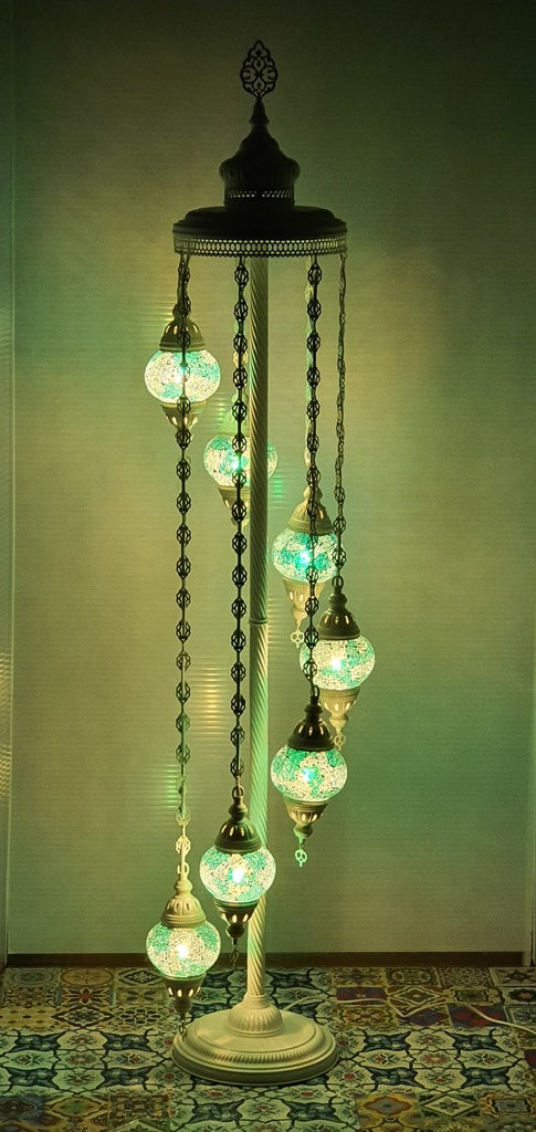 7 Globe Green Turkish Tiffany Mosaic Floor Lamp LED Light From £150 - Decoridea.co.uk