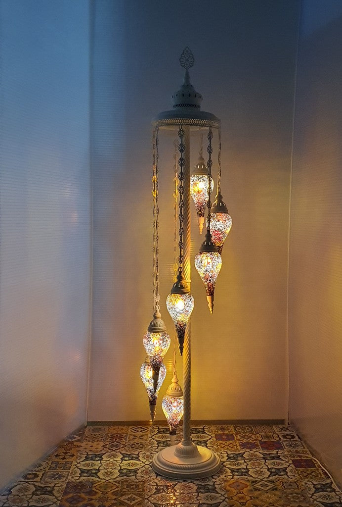 7 Globe Amber Turkish Tiffany Mosaic Floor Lamp LED Light Pear Shape From £175 - Decoridea.co.uk