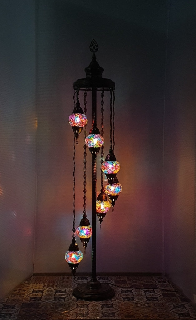 7 Globe Mix Coloured Turkish Tiffany Mosaic Floor Lamp LED Light From £150 - Decoridea.co.uk