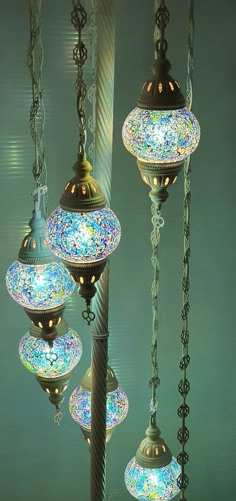 7 Globe Ocean Blue Turkish Tiffany Mosaic Floor Lamp LED Light From £150 - Decoridea.co.uk