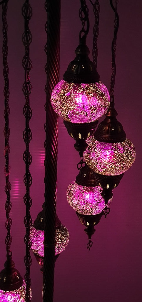 7 Globe Purple Turkish Tiffany Mosaic Floor Lamp LED Light From £150 - Decoridea.co.uk