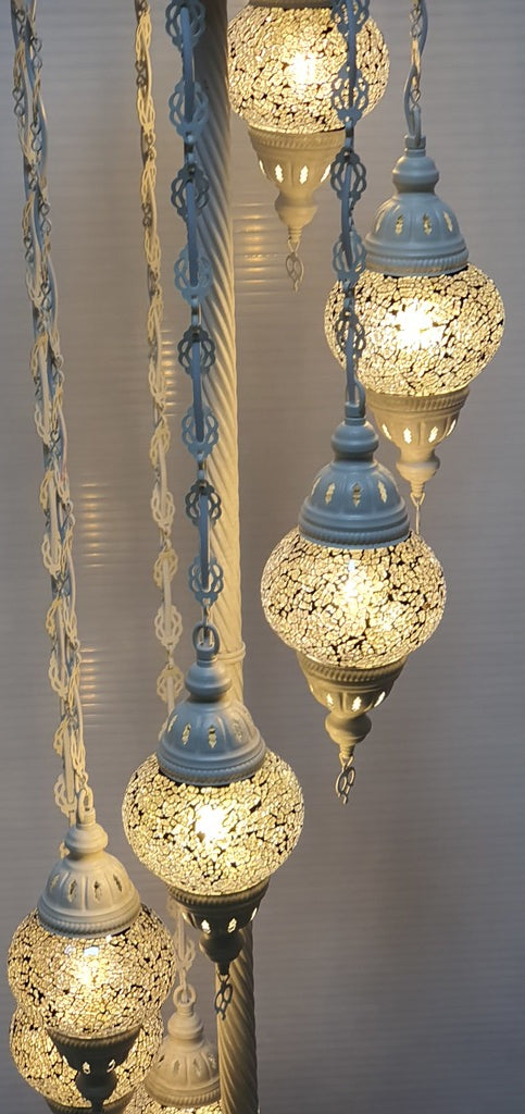 7 Globe Silver Turkish Tiffany Mosaic Floor Lamp LED Light From £150 - Decoridea.co.uk