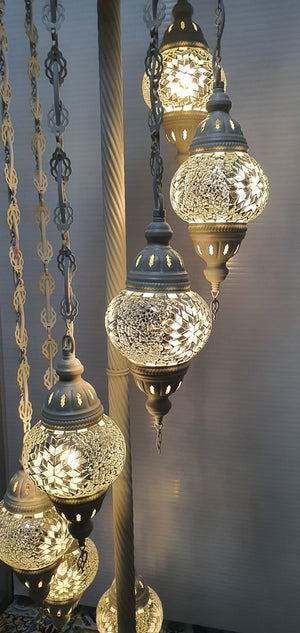 7 Globe White Flower Pattern Turkish Tiffany Mosaic Floor Lamp LED Light From £150 - Decoridea.co.uk