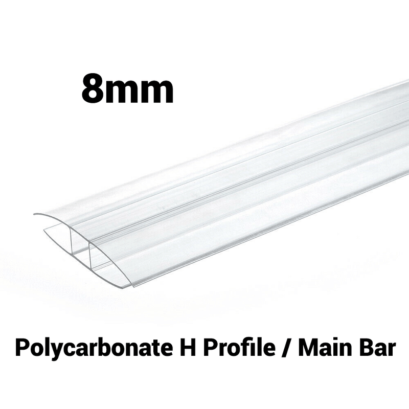 8mm Polycarbonate H Profile Clear Various Size 10 Year Warranty