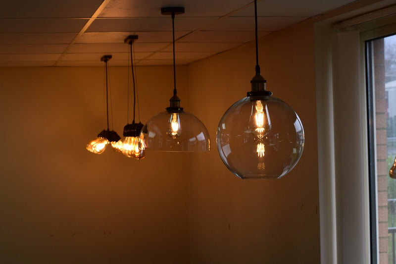 Adelina Industrial Retro Loft Glass Ceiling Lamp Shade Pendant LED Light From £24.90 - Decoridea.co.uk