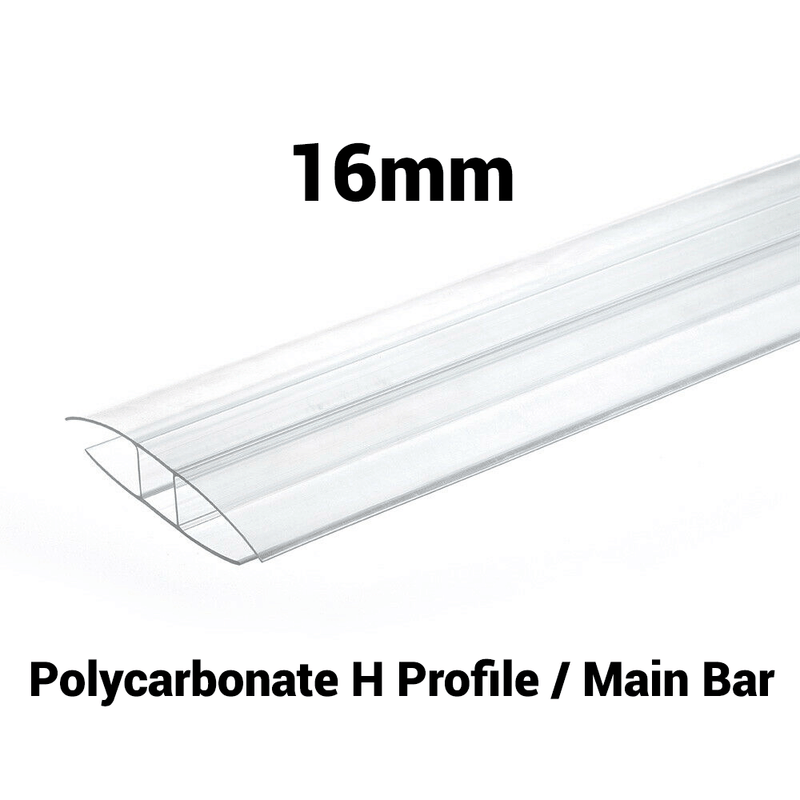 16mm Polycarbonate H Profile Clear Various Size 10 Year Warranty