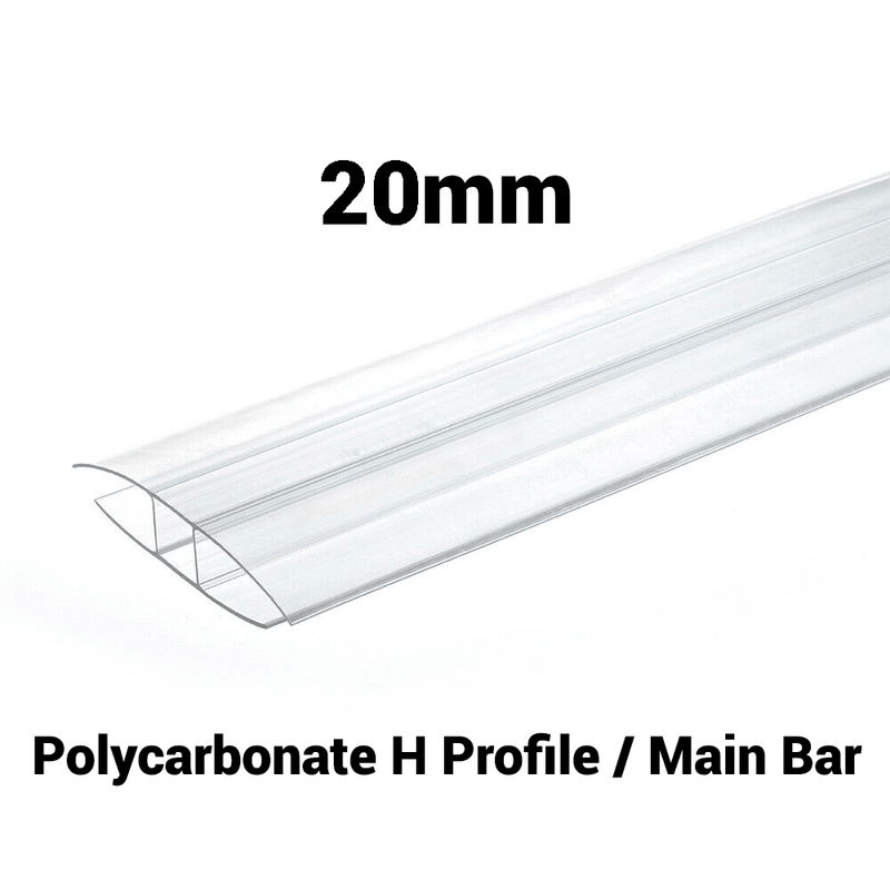 20mm Polycarbonate H Profile Clear Various Size 10 Year Warranty