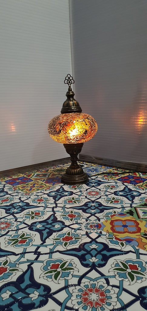 Amber Turkish Tiffany Mosaic Oriental Decorative Table Lamp LED Light From £31.90 - Decoridea.co.uk