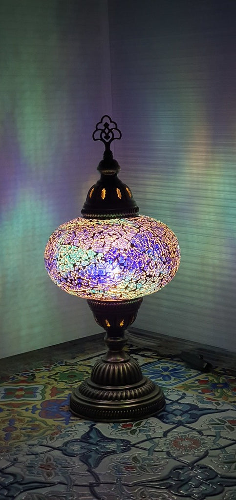 Blue Turkish Tiffany Mosaic Oriental Decorative Table Lamp LED Light From £31.90 - Decoridea.co.uk