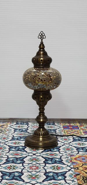 Golden Turkish Tiffany Mosaic Oriental Decorative Tall Table Lamp LED Light From £37.90 - Decoridea.co.uk