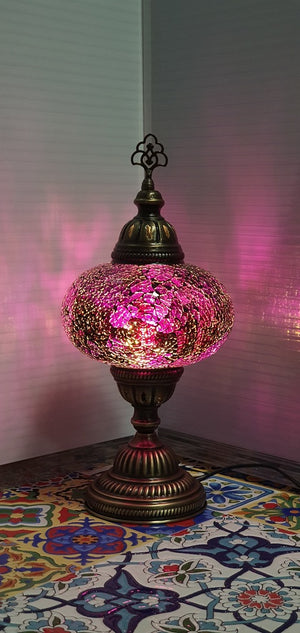 Purple Turkish Tiffany Mosaic Oriental Decorative Table Lamp LED Light From £31.90 - Decoridea.co.uk