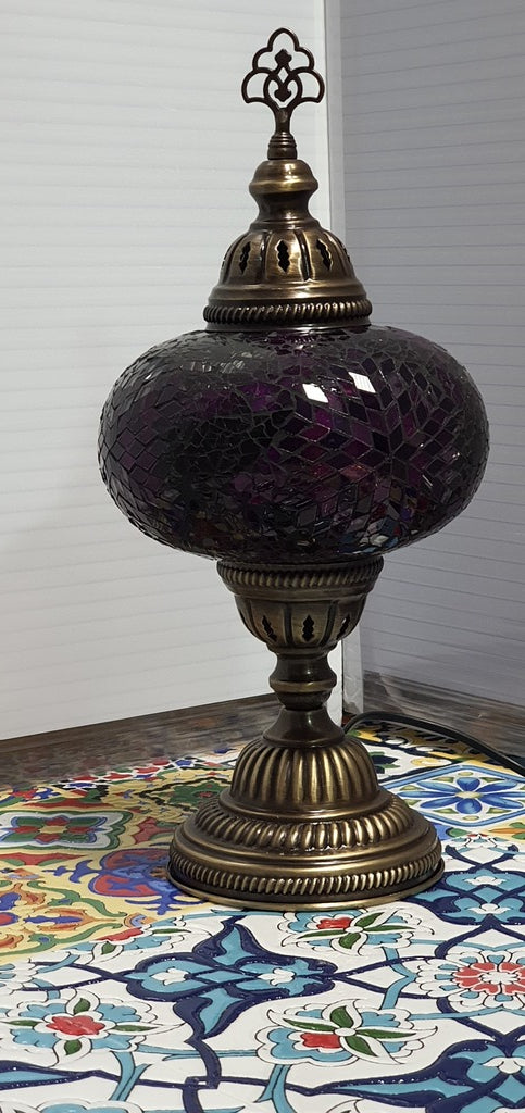 Purple Flower Pattern Turkish Tiffany Mosaic Oriental Decorative Table Lamp LED Light From £31.90 - Decoridea.co.uk