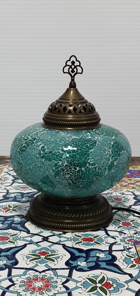Turquoise Turkish Tiffany Mosaic Oriental Decorative Short Table Lamp LED Light From £41.90 - Decoridea.co.uk
